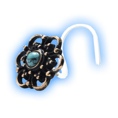 Brass Ornate Flower Bio Curved Nose Stud with Turquoise stone