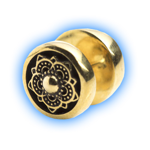 Ornate Brass Fake Ear Plug