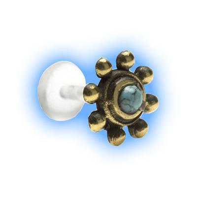 Bioflex Push Fit Labret - Turquoise Sunshine brass attachment