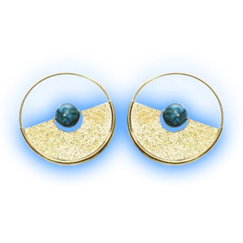 Brass Hoop Earrings - Turquoise