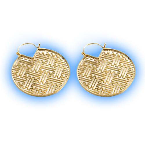 Polished Brass Geometric Hoop Earrings