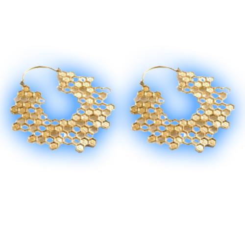 Large Brass Hoop Earrings - Open Honeycomb Design