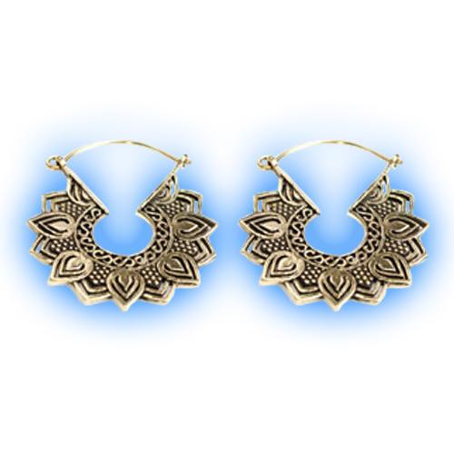 Brass Hoop Earrings - Lotus Petal