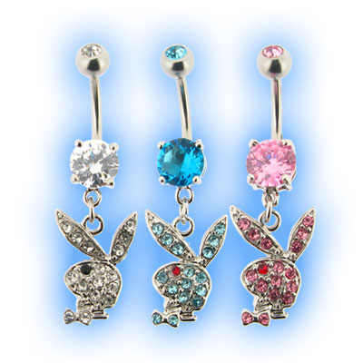 Playboy Jewelled Dangling Bunny Belly Bars