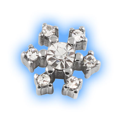 Stainless Steel Screw On Jewelled Snowflake - 1.2mm (16g)