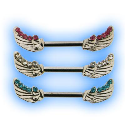 Jewelled Wings Nipple Bars