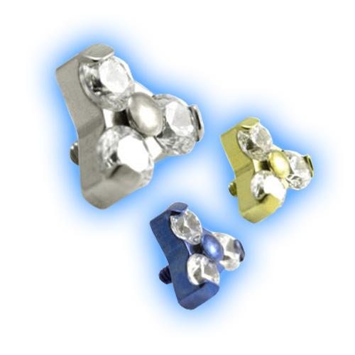 1.6mm (14g) Titanium Internally Threaded Trinity Gem