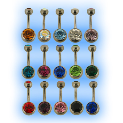 Highly Polished Titanium Jewelled Belly Bar Bananabell