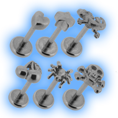 3D Stainless Steel Labret Stud - 1.2mm (16G)