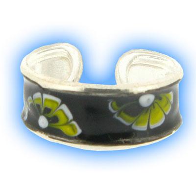 Black Enamel Flower Power Toe Ring