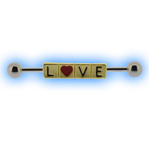 Industrial Barbell with LOVE Scrabble Letters for Scaffold Piercing