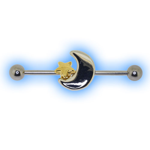 Industrial Barbell with Moon and Star for Scaffold Ear Piercing