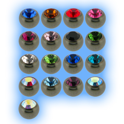 Plain Polished Titanium Screw On Jewelled Ball - 1.6mm (14g)