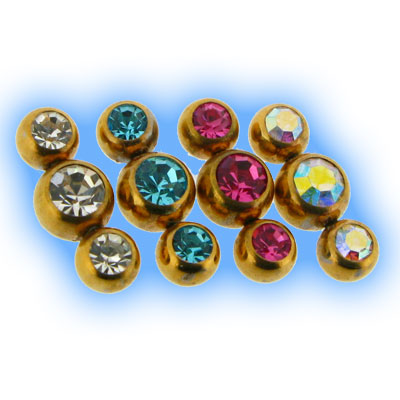 Gold Plated Triple Gem Attachment - 1.2mm (16g)