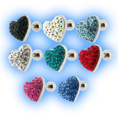 Multi Jewelled Heart Tragus Stud