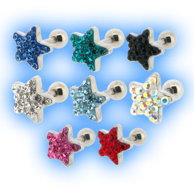 Multi Jewelled Star Tragus Stud