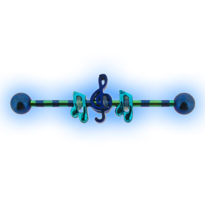 Striped Blue and Green Industrial Barbell with Music