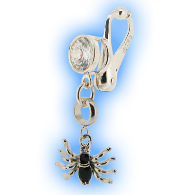 Fake Belly Ring with Dangling Spider