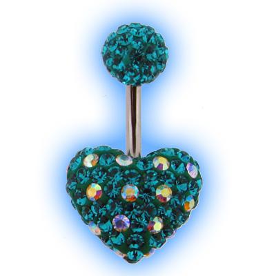 Dotty Crystal Disco Heart Belly Bar - Blue Zircon