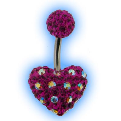 Dotty Crystal Disco Heart Belly Bar - Fuchsia