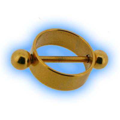 Gold Plated Steel Nipple Rounder & Barbell