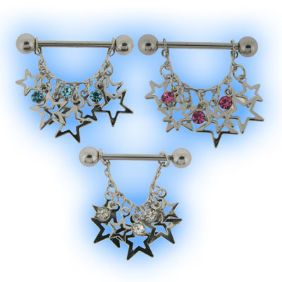 Jewelled Star Dangle Nipple Shield