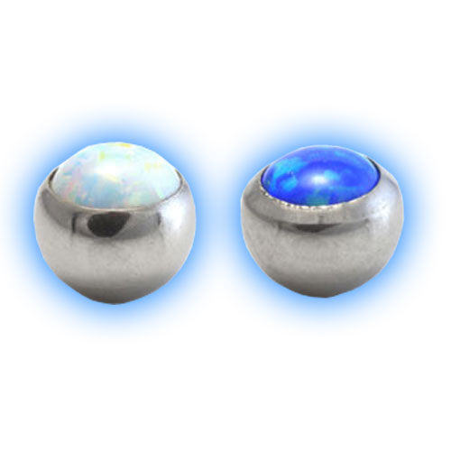 Screw On Ball with Opal Stone - 1.6mm (14 gauge)