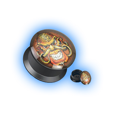 Acrylic Ear Plug Screw Front - Cannibal