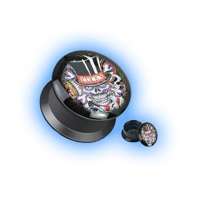 Acrylic Ear Plug Screw Front - Lucky Devil