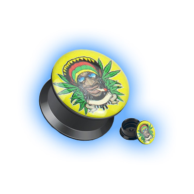 Acrylic Ear Plug Screw Front - Rasta