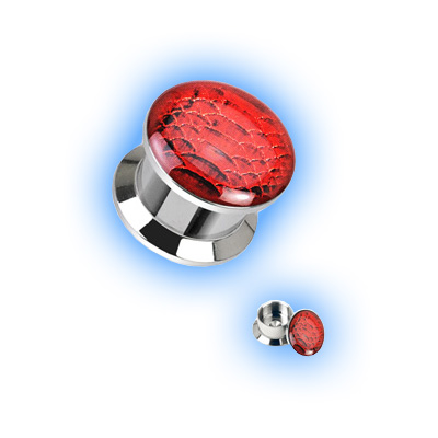 Steel Ear Plug Screw Front - Red Viper