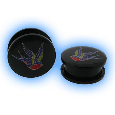 Acrylic Two Piece Logo Plug - Swallow Bird