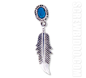 Screwbidoo Screw -  Hanging Feather Turquoise