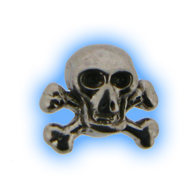 Stainless Steel Screw On Skull and Crossbones Top - 1.2mm (16g)