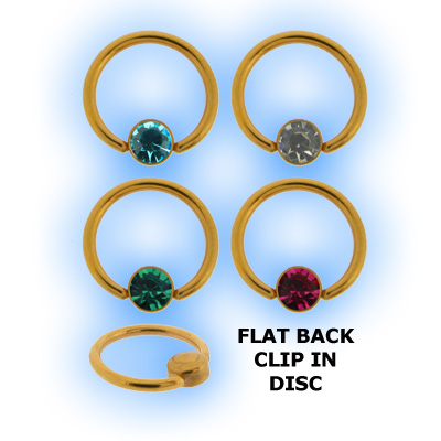 1.2mm (16g) Gold Plated Steel Flat Back Ball Closure Ring - Jewel