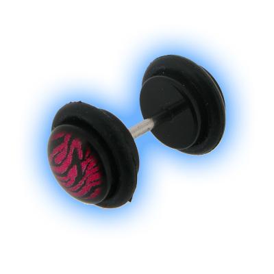 Fake Ear Plug Black Acrylic Pink Zebra Print