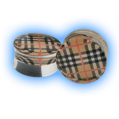 Acrylic Trendy Check Flesh Plug