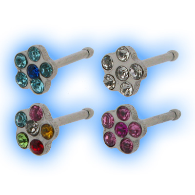 316 Stainless Steel Straight Nose Stud - Daisy Flower