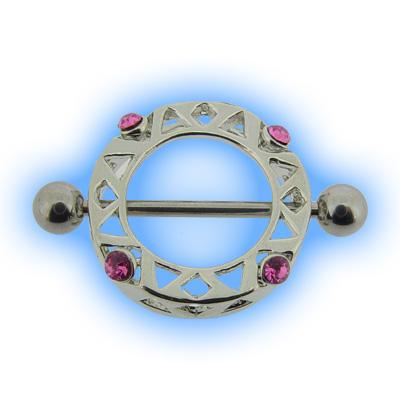 Nipple Shield - Decorative Circle with Pink Gems