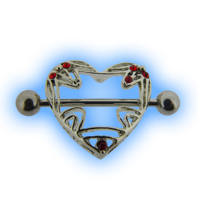 Nipple Shield - Decorative Heart with Red Gems
