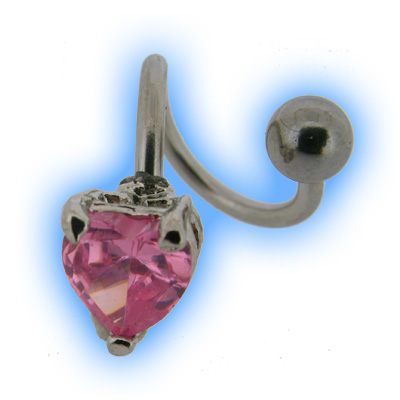 Steel Spiral Twister - Pink Heart
