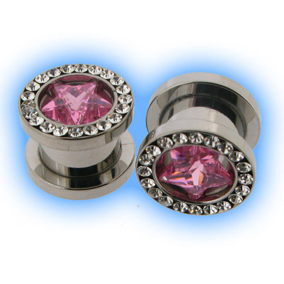 Clear and Pink Gem Star Set Steel Screw Tunnel