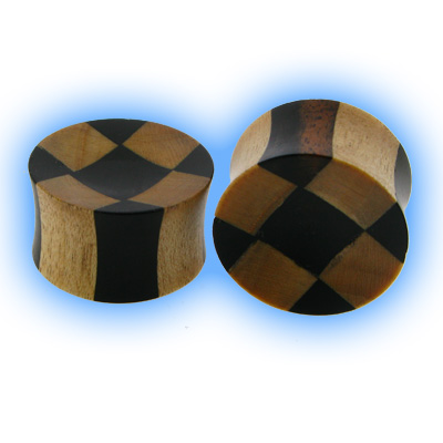 Organic Wood Flesh Plug - Checker