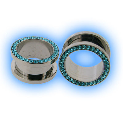 Multi Aqua Gem Set Steel Ear Lobe Screw Tunnel