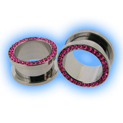 Multi Pink Gem Set Steel Ear Lobe Screw Tunnel