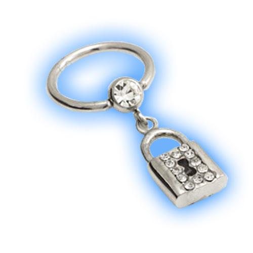 Jewelled dangling padlock Ball Closure Ring or BCR - 1.6mm (14 gauge)