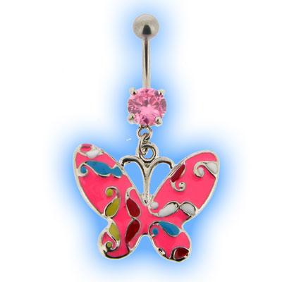 Hippie Butterfly Tattoo Dangling Belly Bar