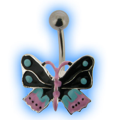 Unusual Enamel Butterfly Belly Bar