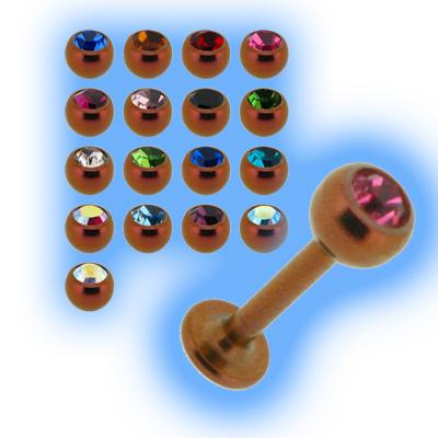 Peach Titanium Labret Stud & Jewelled Ball - 1.2mm (16g)