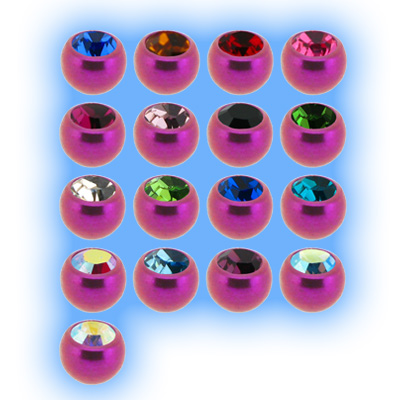 Pink Titanium Screw On Jewelled Ball - 1.2mm (16g)